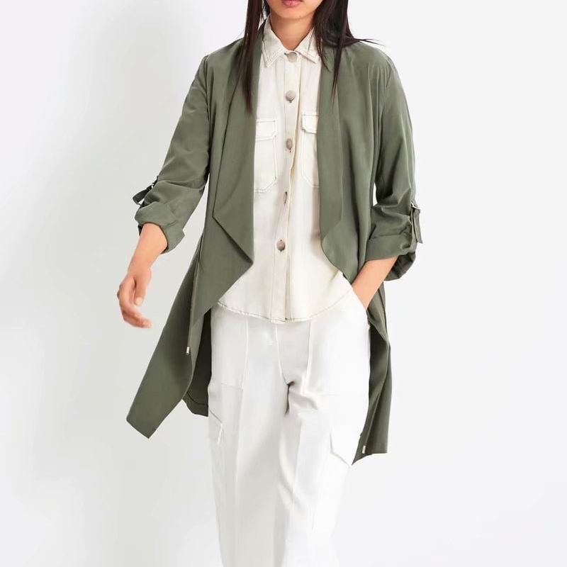 Women   Trench   Autumn 2019 New Fashion Light Weight Material Drawstring Casual Tops Modern Lady Autumn Coat