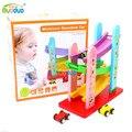 2016 das crianças engraçadas brinquedos montanhas-russas de madeira de três camadas deslizando carro de brinquedo crianças model building kits