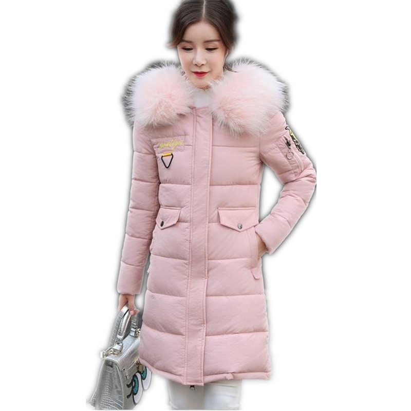 2017 Fashion Winter Women Down Cotton Jacket Parka Female Hooded Fur Collar Thicken Medium-Long Outerwear Cotton Warm Coat CQ407 2016 winter jacket women down coat fur hooded vest down coats vest pant underwear women s suit thicken set outerwear trousers