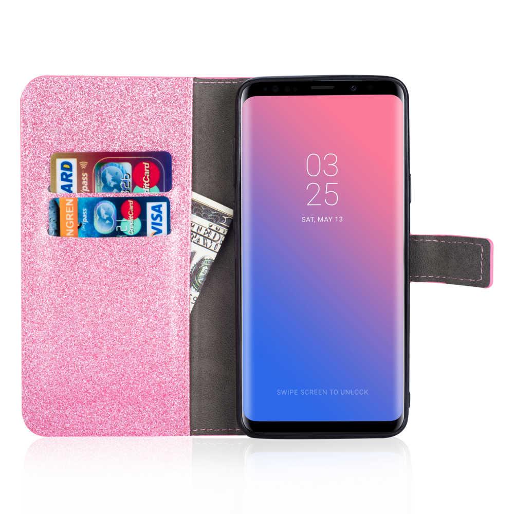 Блестящий чехол с покрытием со стразами чехол из искусственной кожы чехол для samsung Galaxy Note 8 S9 S8 плюс S7 S6 край S5 J3 J5 J7 A3 A5 A8