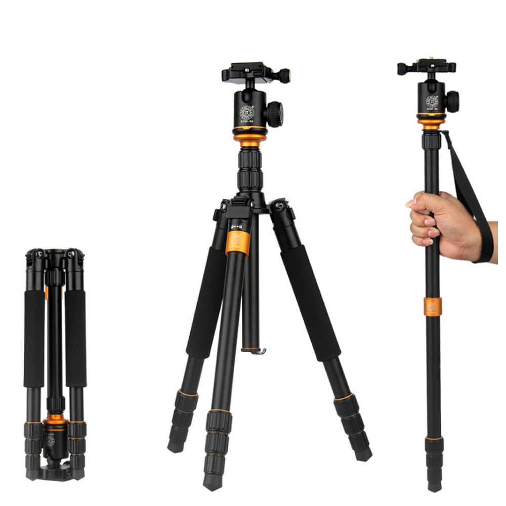QZSD Q999S Camera Tripod Monopod Photography Portable Aluminium Stand with 360 Degree Ball Head for Travel DSLR Camera Load 15KG photography pocket mini tripod 360 degree ball head digital camera adjustable photo stand camera holder
