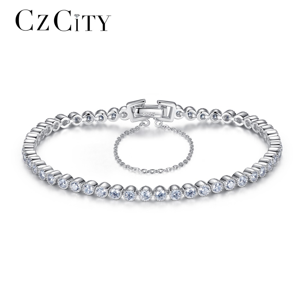 CZCITY Brillant Zircon Clair Pierre De Tennis Argent Femmes Bracelet Véritable 925 En Argent Sterling De Mariage Bracelets & Bangles Cadeau