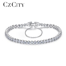 CZCITY Brilliant Clear Zircon Stone Tennis Silver Women Bracelet Genuine 925 Sterling Silver Wedding Bracelets & Bangles Gift