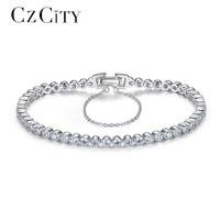 CZCITY Brilliant Clear Zircon Stone Tennis Silver Women Bracelet Genuine 925 Sterling Silver Wedding Bracelets & Bangles Gift