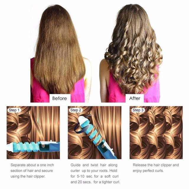 Anti Scalded Electric Ceramic Hair Curler Spiral Curling Iron Wand Salon Tools Automatic Travel