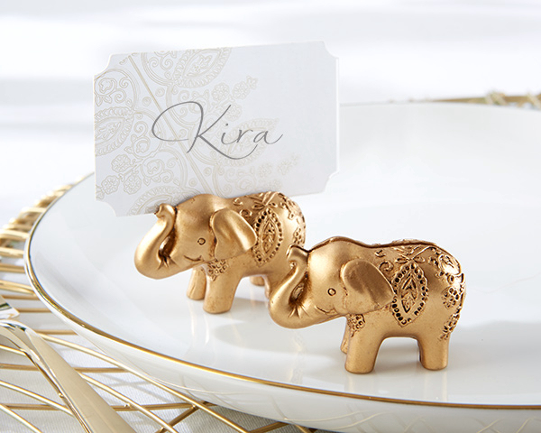New arrival Factory directly sale Wedding Favor Lucky Golden Elephant Place Card Holders Birthday Wedding Party Baby Shower Gift