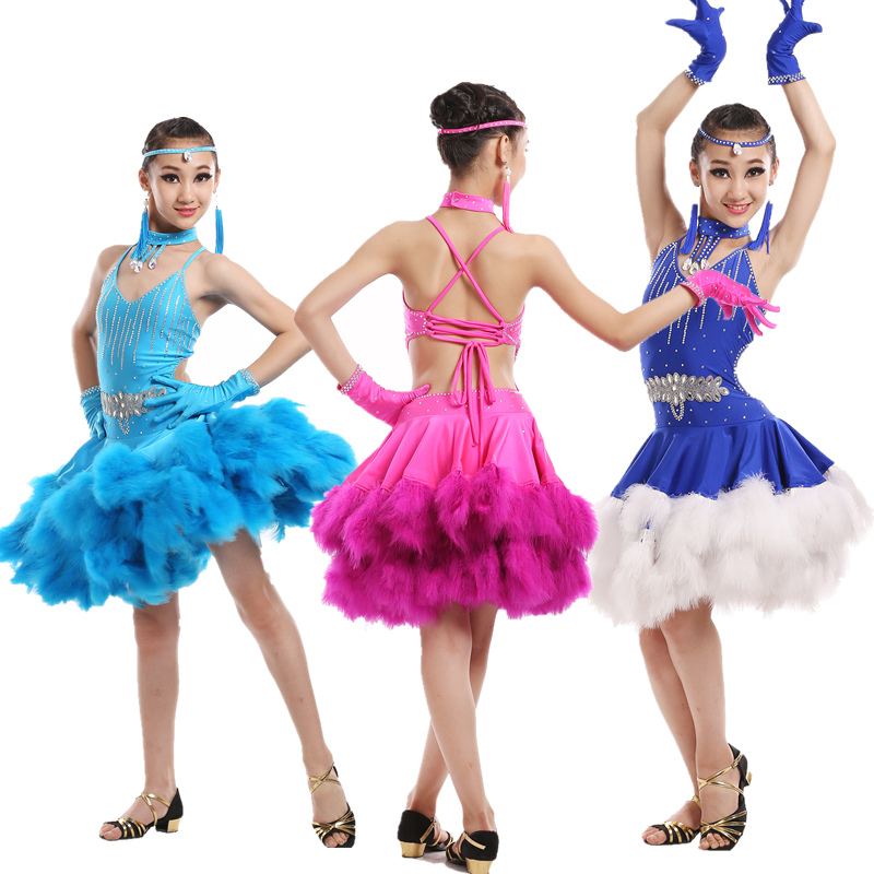 New spandex Adult Child Latin dance costumes feather sleeves latin dance dress for child latin dance dresses S-3XL nobody s child