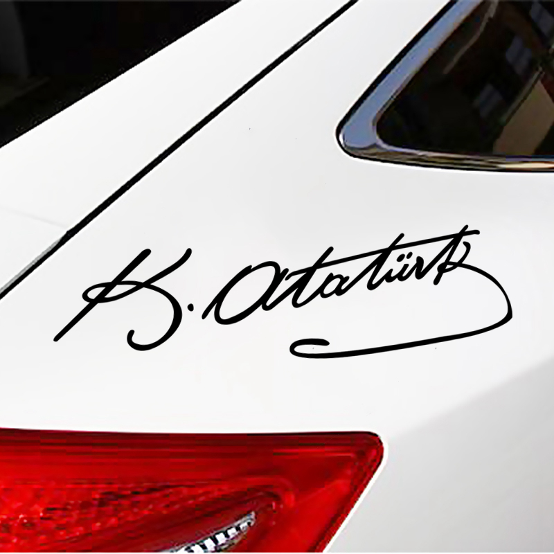 CS 905 25 7cm Signature Ataturk car sticker vinyl decal silver black for auto car stickers styling car decoration in Car Stickers from Automobiles Motorcycles