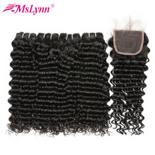 Deep Wave Bundles With Closure Brazilian Hair Weave Bundles With Closure Human Hair 3 Bundles With Closure Mslynn Non Remy Hair(China)