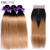 T1B 27 Ombre Brazilian Hair Weave 3 Bundle With Closure Blonde Straight Human Hair Bundle With