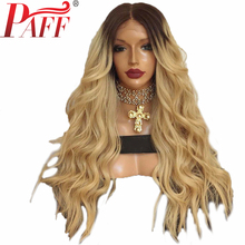 PAFF 4/613 Ombre Honey Blonde Lace Front Human Hair Wigs Remy 180% Density Brazilian Natural Wave 613