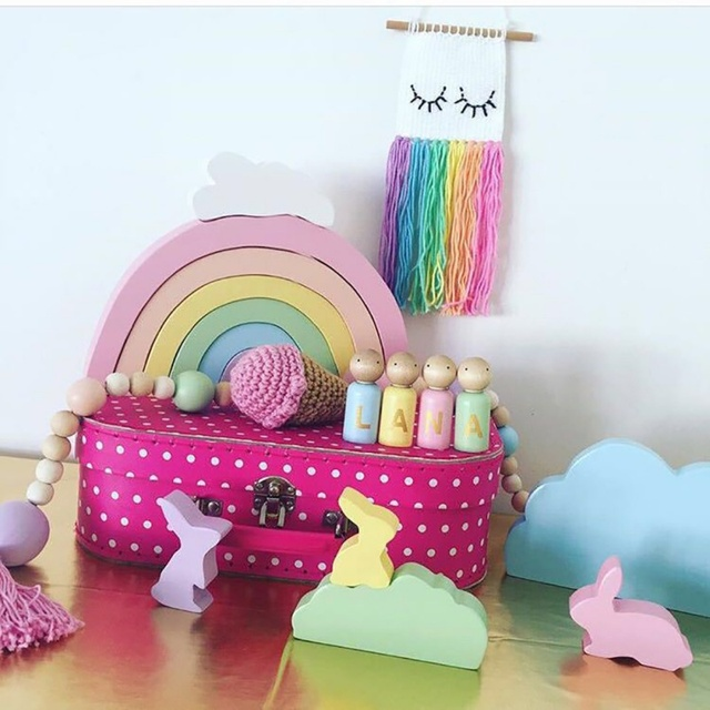 Kid's Room Wooden Decorative Rainbow