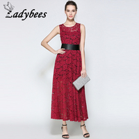 LADYBEES Women Long Lace Red Dresses Two Pieces Sexy Hollow Out Maxi Dress With Belt Elegant