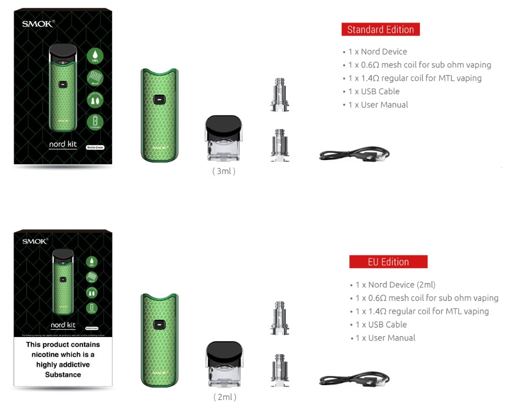 NEW Original SMOK Nord Kit Carbon Fiber Electronic E Cigarette Anti-Leaking  Mini Vape Pen with 1100mAh Battery Pods Coil VS NOVO