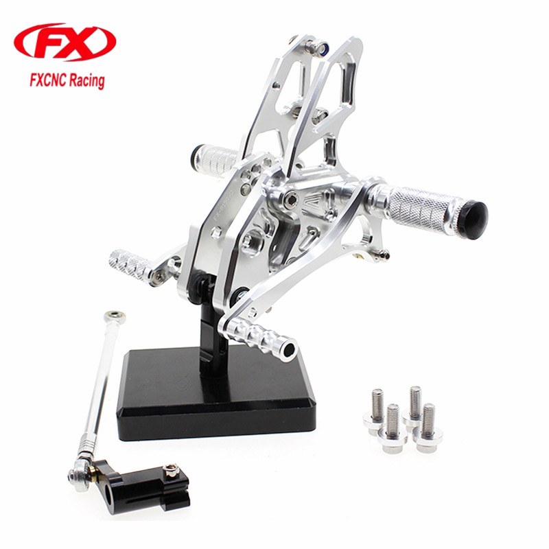 FXCNC Aluminum Adjustable Motorcycle Rearsets Rear Set Foot Pegs Pedal Footrest For YAMAHA YZF R15 2012 2014 2015 2016 2017 cnc aluminum motorcycle adjustable rearset rear set foot pegs pedal footrest for kawasaki ninja 650 ex650 er 6n er 6f 2012 2016