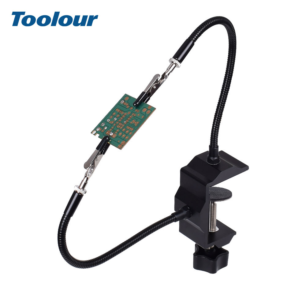 Toolour Table Clamp Soldering Holder 2pc Flexible Arms Alligator Clips Bench Vise Aluminum Soldering Station Welding Repair Tool