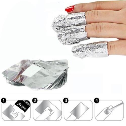 100pcs Aluminium Foil Remover Wraps With Acetone Nail Art Soak Off Acrylic Gel Polish Removal