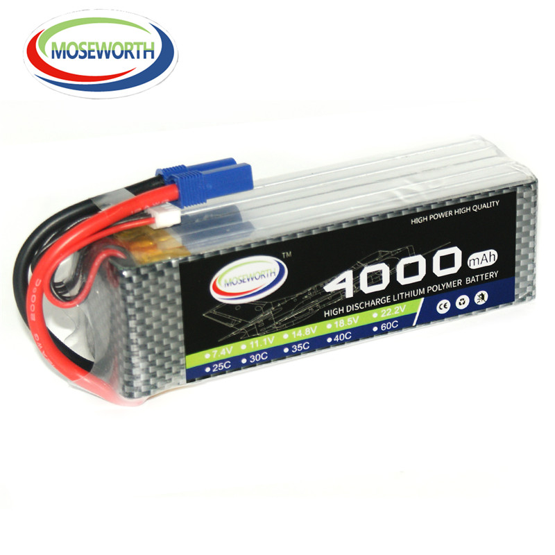 MOSEWORTH RC LiPo Battery 22.2V 4000mah 40C 6S Li-ion Battera for Helicopter RC Airplane Quadrotor Drone cell AKKU