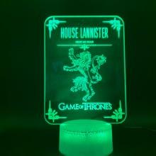 Novelty Light Game of Thrones House Lannister Home Decoration Light Birthday Gift for Kids Bedroom Child 3d Led Night Light Lamp цена