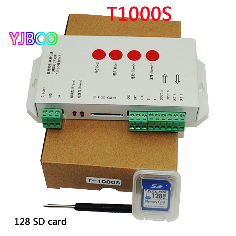 цена на LED RGB controller T1000S SD Card Pixels Controller ,for WS2801 WS2811 WS2812B LPD6803 LED 2048 DC5~24V