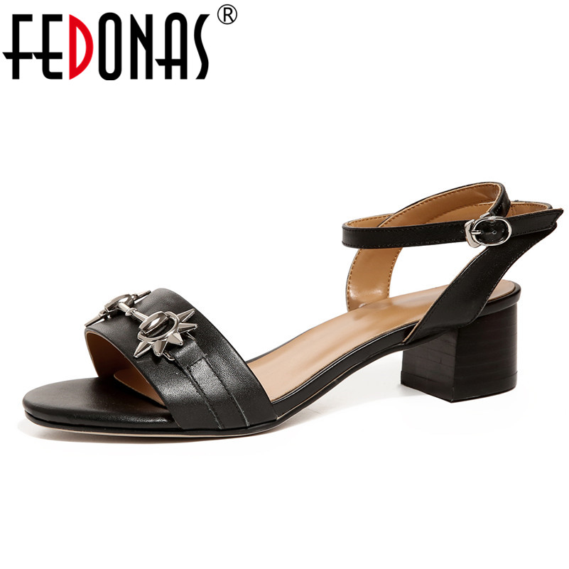 FEDONAS 2018 Summer Gladiator Sandals Women High Heels Genuine Leather Shoes Woman Ankle Strap Party Wedding Shoes Ladies Pumps dijigirls women pumps peep toe high heels gladiator sandals shoes woman party wedding flock leather stiletto lace up summer boot
