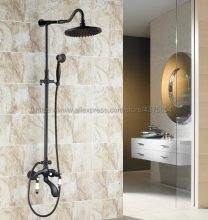 Shower Faucets Oil Rubbed Bronze Shower Set Faucet Tub Mixer Tap Handheld Shower Wall Mounted Nhg635