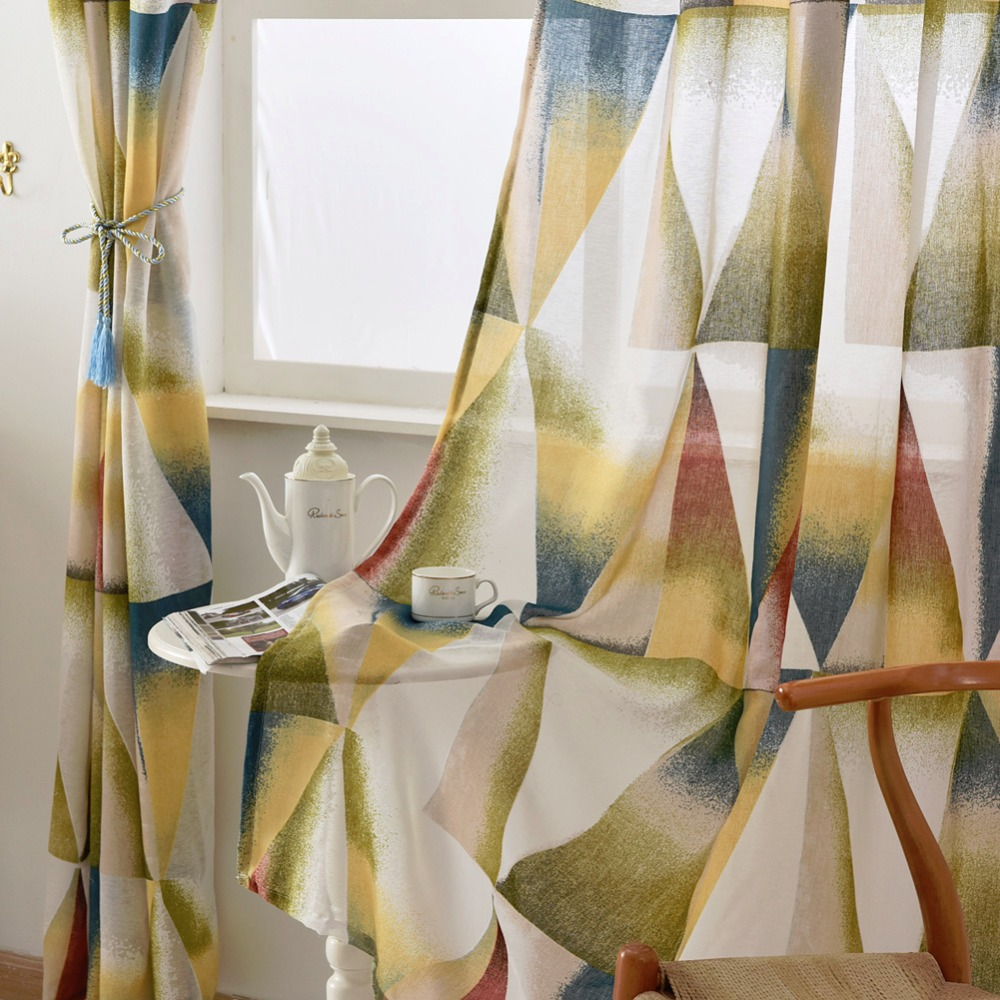 room burnout living geometric curtains colorful balcony short modern kitchen design fabrics semisheer door
