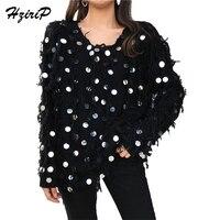 HziriP 2018 Spring Autumn Fashion Black Sweater Women Long Sleeve Tassel Sequined Loose Streetwear Sexy Bottming
