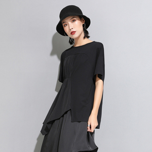 Image 2 - [Eam] 2020春夏新作ラウンドネック半袖黒プリーツスプリットジョイント不規則なビッグサイズのtシャツ女性ファッションJW596