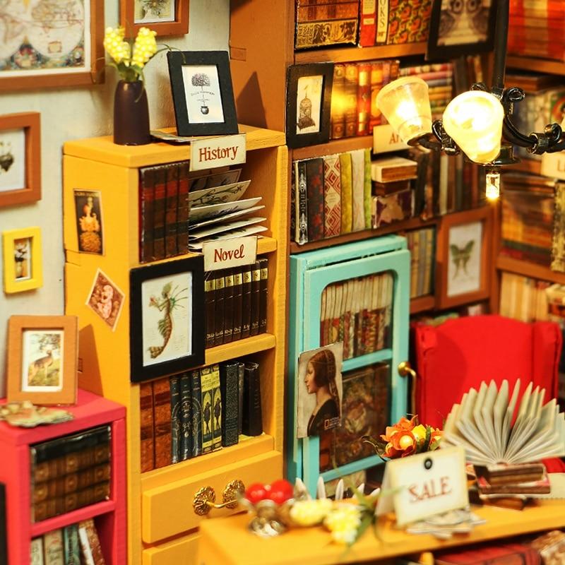 Robud Barn Vuxen DIY Miniatyr Sam Studie Doll House Modell Byggsatser - Dockor och tillbehör - Foto 5