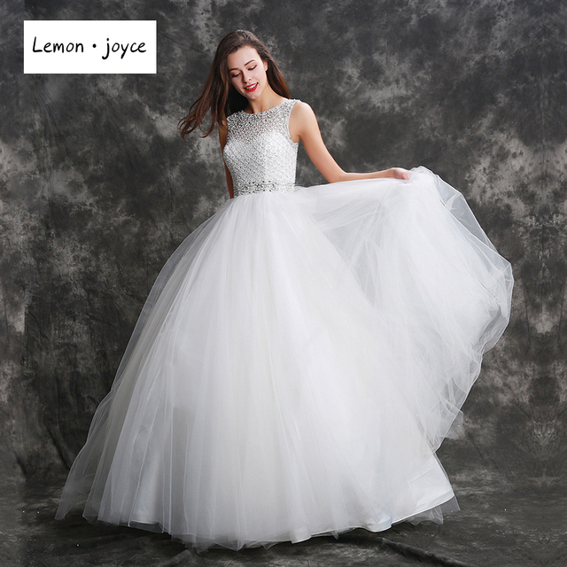 Fantasy Wedding Dresses 2018 Crystal Beading Floor Length Ball Gowns