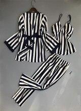 Femmes pyjamas ensemble Satin vêtements de nuit 3 pièces Spaghetti sangle rayure Parttern 2018 Sexy Lingerie soie Pijama maison vêtements Pyjama