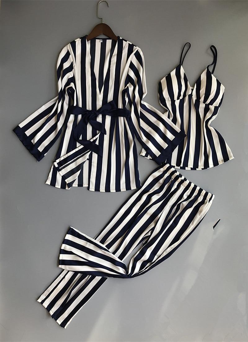 Women Pajamas Set Satin Sleepwear 3 Pieces Spaghetti Strap Stripe Parttern 2018 Sexy Lingerie Silk Pijama Home Clothing Pyjama