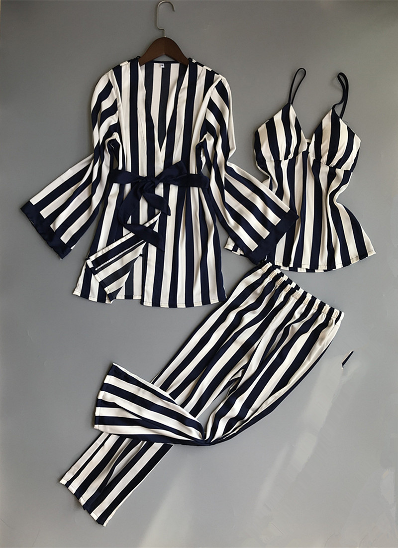 Women   Pajamas     Set   Satin Sleepwear 3 Pieces Spaghetti Strap Stripe Parttern 2018 Sexy Lingerie Silk Pijama Home Clothing Pyjama