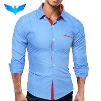 2016 Men S Fashion Men Shirt British Fashion Wave Point Slim Square Collar Long Sleeved Shirt