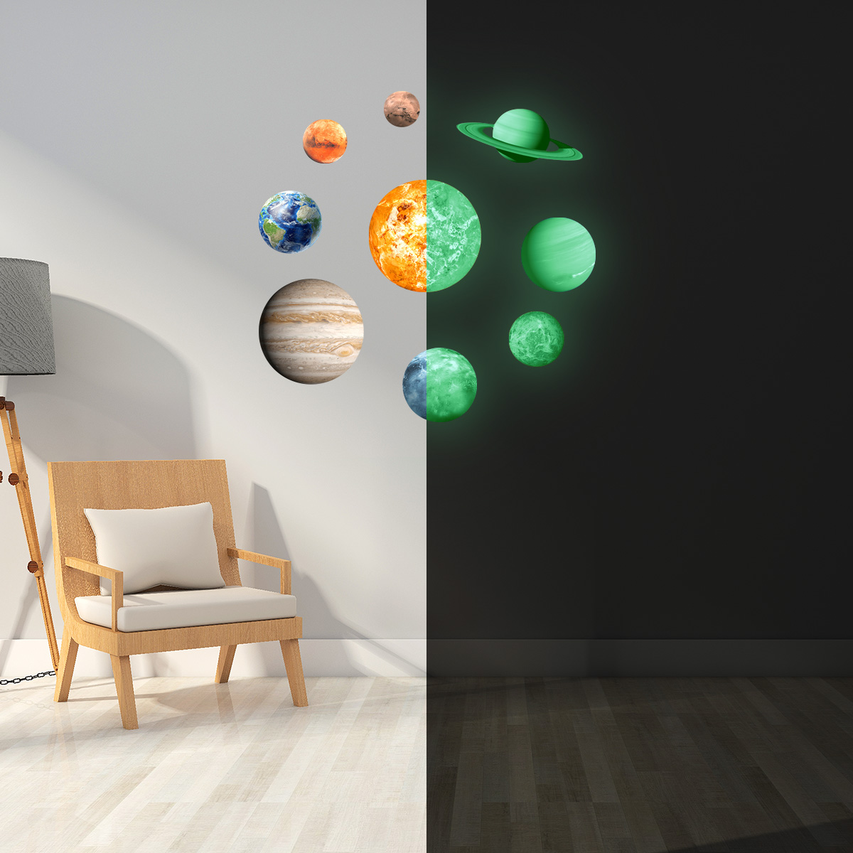 Dark Stars Planets Bright Solar System Wall Stickers Sun Earth Mars Decor Nursery Kids Baby Home Decoration In From Garden On