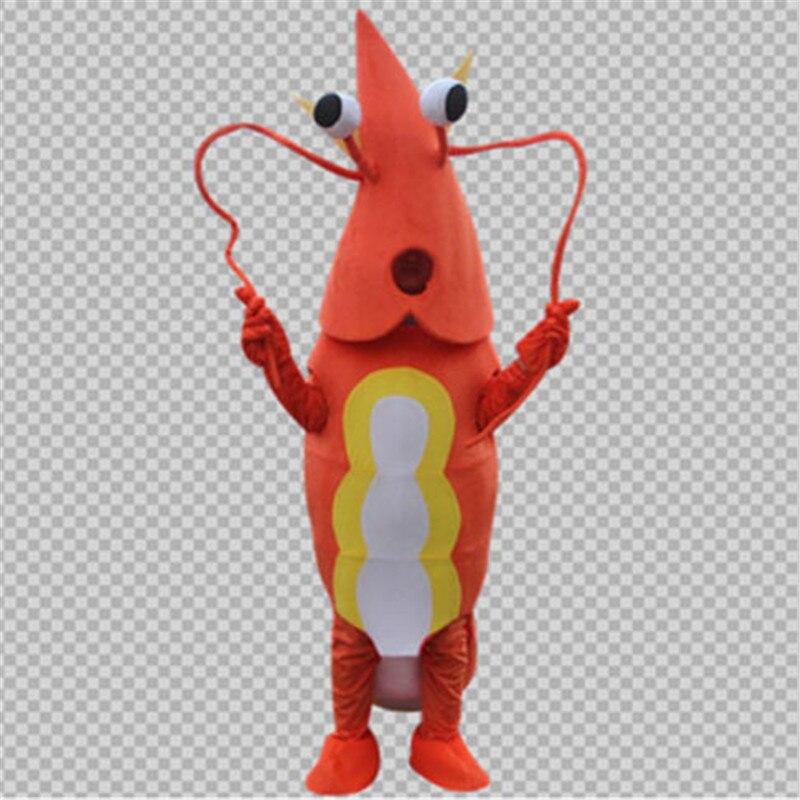 Défilé Orange crevettes homard Costume Costume Langouste écrevisse mascotte robe tenue