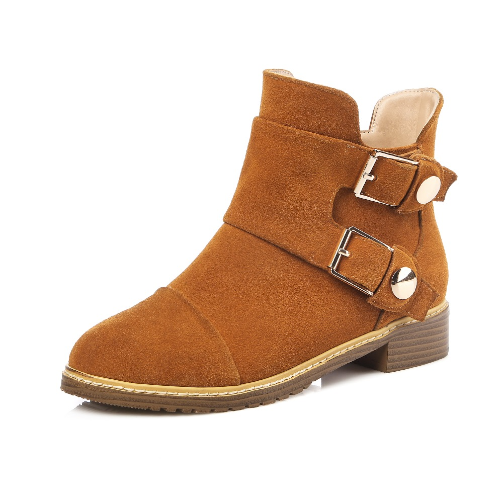 ФОТО 2 Colors High-quality Women Ankle Boots Round Toe Square Heels Boots Fashion Nubuck/ Soft Leather Shoes Woman US Size 4-13