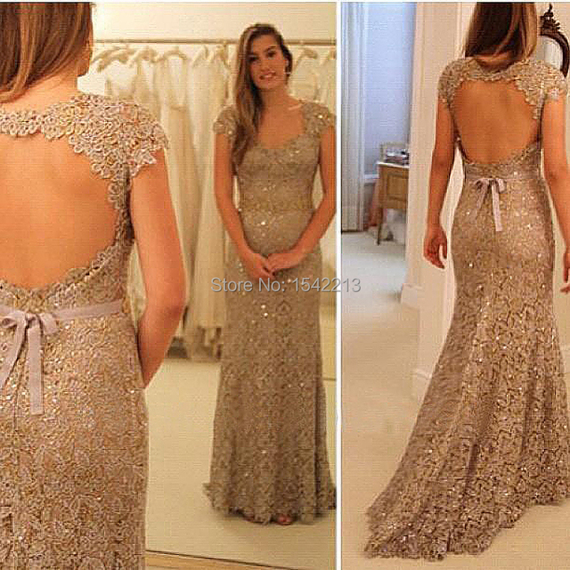 Online Selling Champagne Lace Prom Dress Cap Sleeve Open Back Long ...