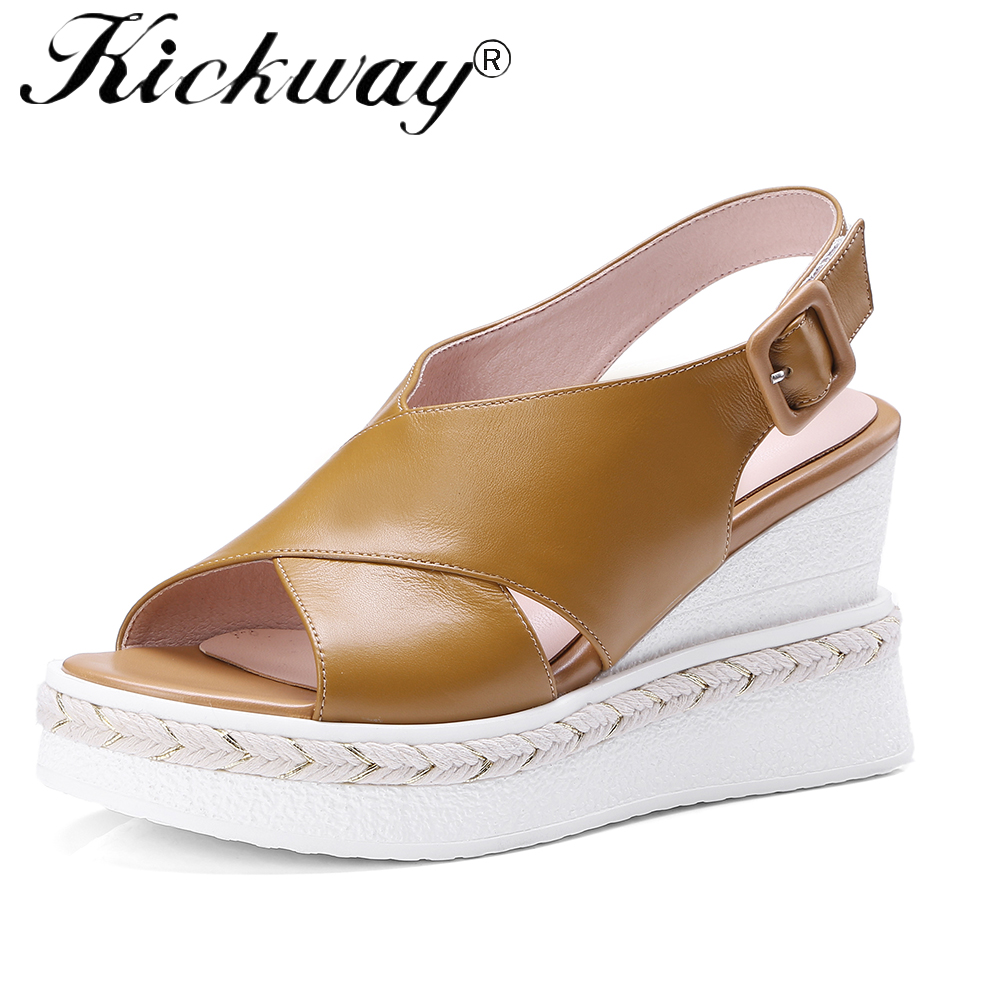 e76c9a432c Kickway Women Sandals Casual Genuine Leather Wedge Sandals Summer Ankle  Strap High Heel Platform Pump Shoes With Jute Large Size