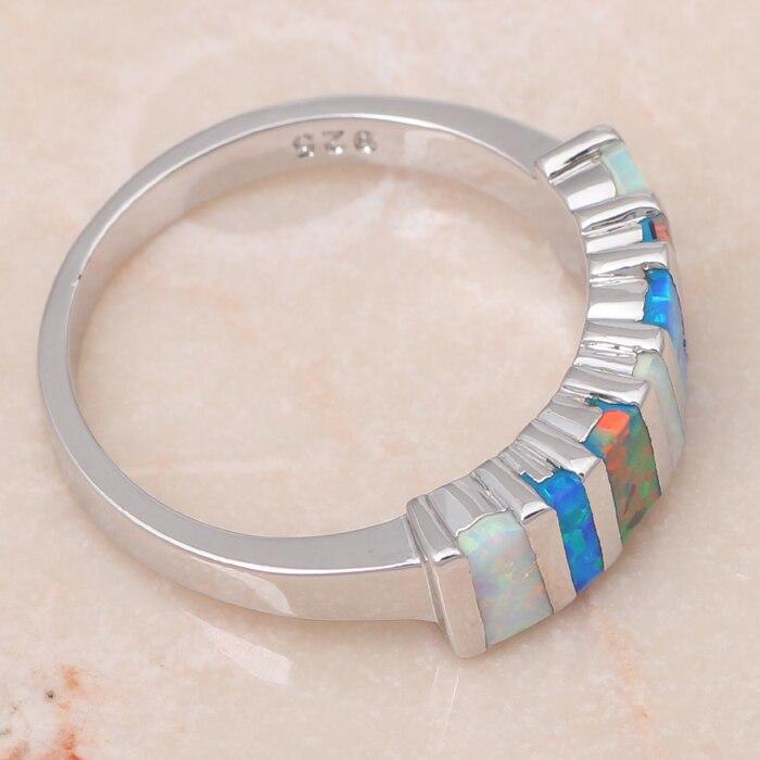 ROLILASON шикарный дизайн высокое качество смешивания Цвет огненный опал Серебро Мода ювелирные кольца для женщин США sz#6#7#8#9#10 OR635