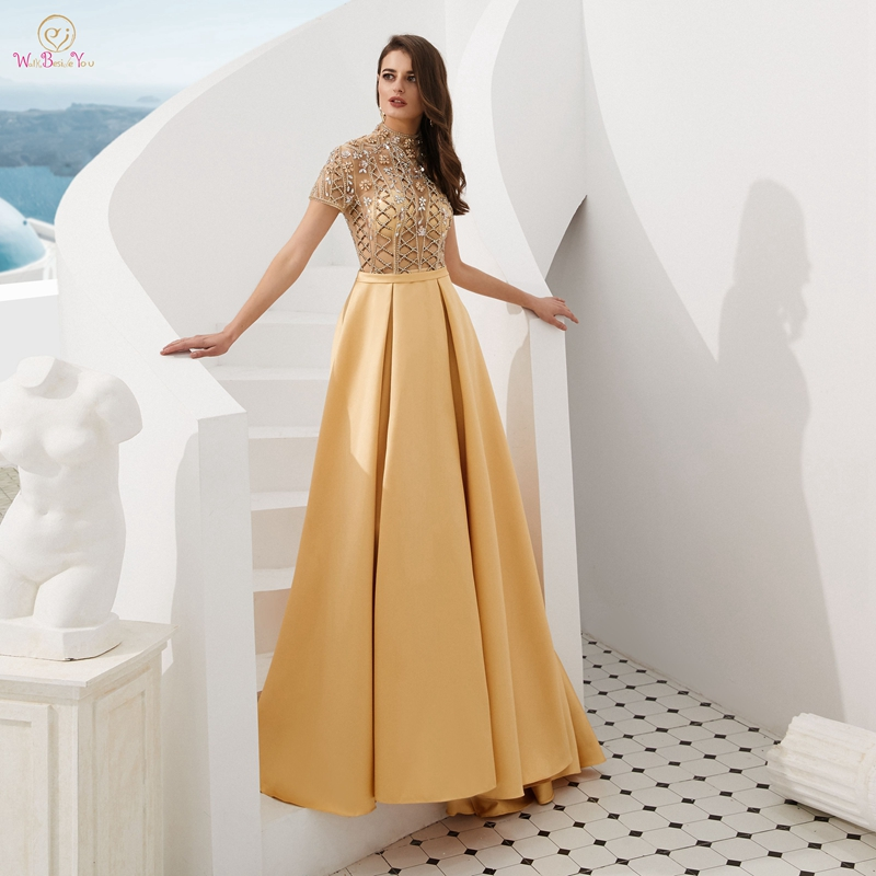 Reflective Stain Evening Gown Green Gold Red Navy Blue 2019 Robe De Soiree Sweep Train A Line Long Elegant Robe Femme Prom Dress