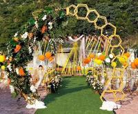 Mejor El Fondo está decorado con armazón de cerezo marco de hierro y arco geométrico