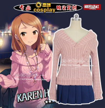 Anime game THE IDOLM@STER CINDERELLA GIRLS cosplay KAREN HOJO cos girl Daily JK uniforms fashion  sweet pink Knitted tops+skirt