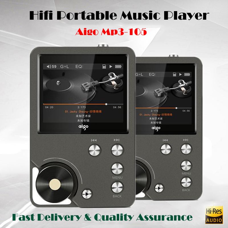 Aigo MP3-105 Lossless Hifi Music Player Mp3 with Screen WM8965 Mini Portable Hi-res Flac Mp3 Player DSD Sport Player USB Audio ruizu sport audio mini bluetooth mp3 player music audio mp 3 mp 3 with radio digital hifi hi fi screen fm flac usb 8gb lossless