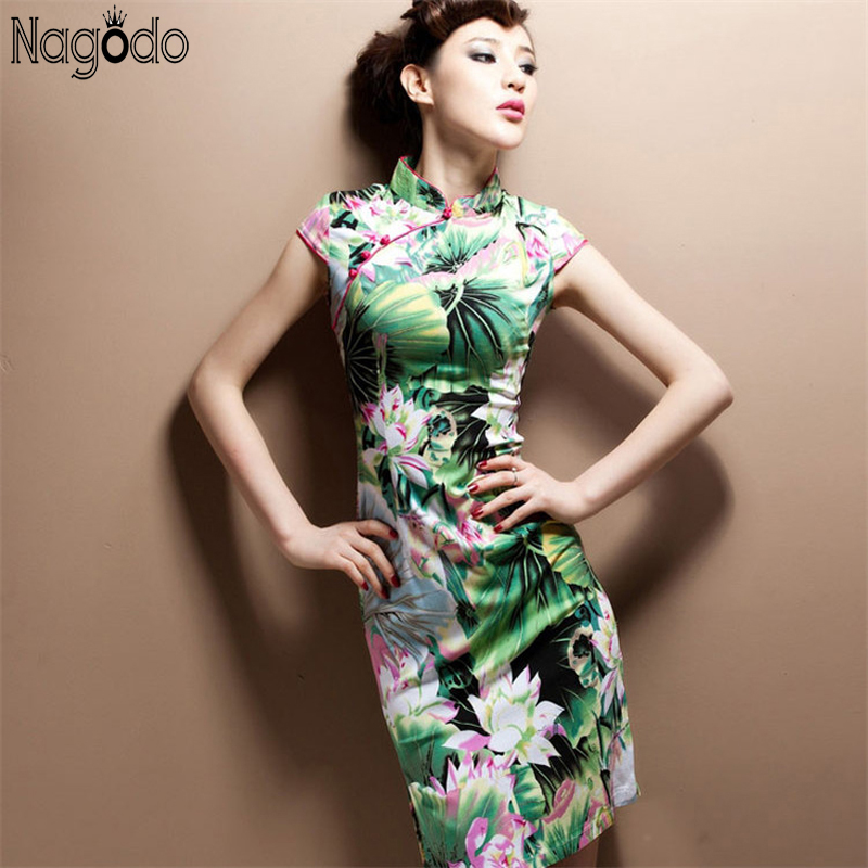 2018 Spring Summer Slim Retro Traditional Chinese Clothing Oriental Dress Mönster Vestido Oriental Chines Cheongsam Qipao Dress