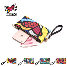 BRITTO 2016 Hot Sale PU Coin Purse For Iphone 7S Plus & Credit Card Casual Colored Clutch Zipper Coin Pocket Graffiti Phone case