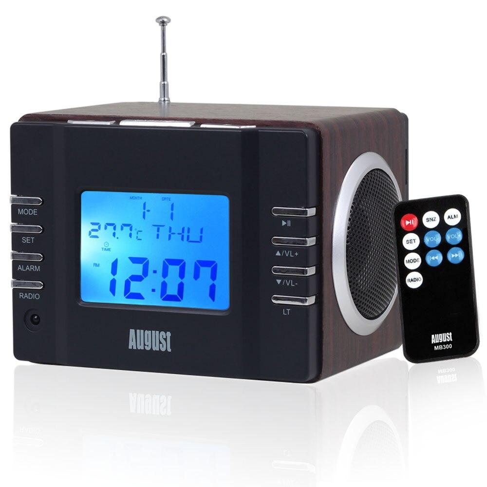 Août MB300 Mini Bois Portable Haut-Parleur avec MP3 Horloge Système FM Radio avec USB Dans/Aux In/SD carte 2x3 w HIFI Haut-parleurs