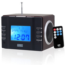 August MB300 Mini Wooden MP3 Stereo System and Portable FM Clock Radio with Aux Input / Card Reader / USB In 2x3W Loud Speakers