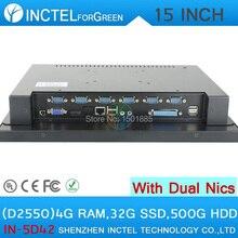 15 Дюймов СВЕТОДИОДНЫЙ сенсорный настольный Компьютер с Intel D2550 1.86 ГГц 2*1000 M Lan HDMI 4 Г RAM 32 Г SSD 500 Г HDD